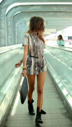 Shorts: jumpsuit snake snake print pants summer outfits black belt little black boots girly tanned