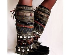 JayBird Tribal Boot cuffs by LotusRootsCreations on Etsy
