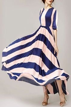 Stripes Spliced 3/4 Sleeve Maxi Dress