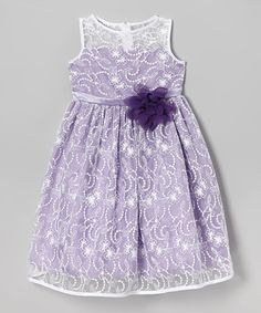 Another great find on #zulily! Ivory & Lavender Lace Babydoll Dress - Toddler & Girls #zulilyfinds