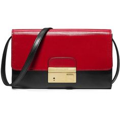 Michael Kors Gia Convertible Two-Tone Leather Clutch ($575) ❤ liked on Polyvore featuring bags, handbags, clutches, purses, apparel & accessories, leather handbags, red leather purse, red handbags, two tone handbags und pochette