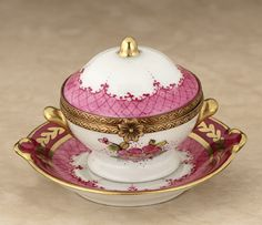 Limoges pink and gold tureen box