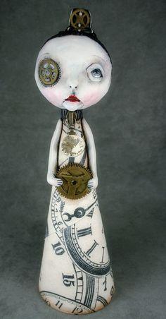 Michele Lynch Steampunk Souls Art Doll Pop Surrealism Christmas Tree Topper Morgan. $125.00, via Etsy.