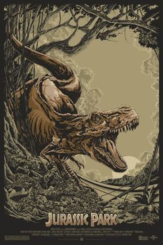INSIDE THE ROCK POSTER FRAME BLOG: Ken Taylor's JURASSIC PARK Movie Poster from Mondo Release Details