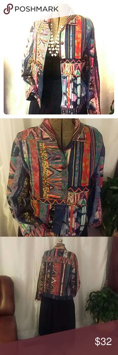 Boho Jean jacket size Large Sandy Starkman creation: denim jacket richly embellished with Jewel tone embroidery and  silk material. 70% cotton 30% silk with rayon lining in a boutique pattern. Classic  denim jacket fit. Sandy starkman Jackets & Coats Jean Jackets