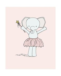 Elephant Ballerina Princess Elephant Nursery por SweetMelodyDesigns, $15.00