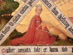 Triptych of Virgin Mary with the unicorn - middle table  Marienaltärchen (Heilsaltar oder Marientriptychon) Kölner oder niederrheinischer Meister, um 1425/30 Bonn, Rheinisches Landes-Museum, RLM