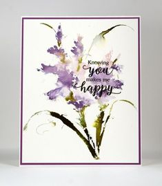 This pretty new stamp from Penny Black is called 'Passionate' and I think it might be a fringed iris but as I have said before my floral knowledge is limited. Penny Black gives whimsical romantic name