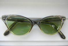 Vintage 50s60s French Cat Eye Glasses by redleaffarmhouse on Etsy, $68.48