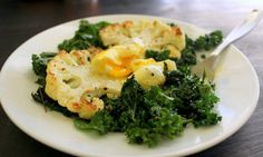 Pan-Roasted Cauliflower with Kale & Poached Egg