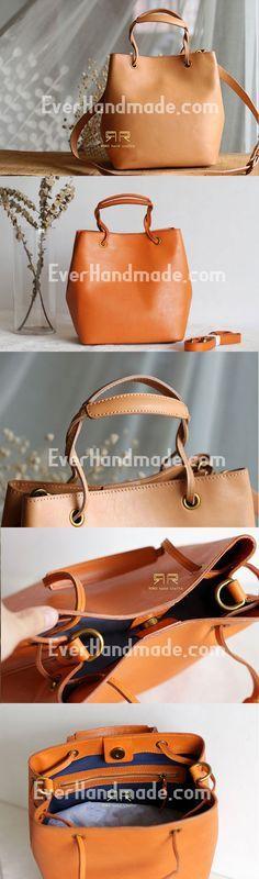 Handmade Leather handbag purse bucket bag for women shopper bag