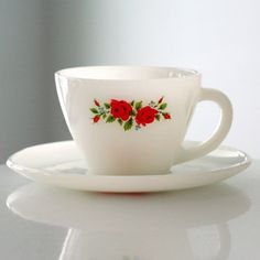 milk glass rose cup and saucer