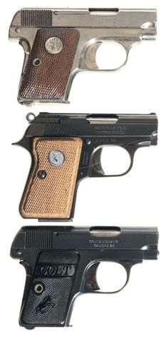 25 automatic pistol | Semi-Automatic Vest/Pocket Pistols -A) Colt Model 1908 Hammerless 25 ...
