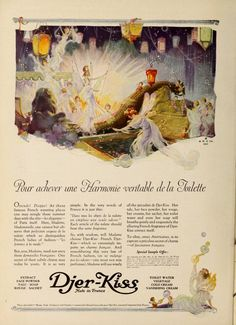 Djer-Kiss 1921 Perfume Ad, Vintage Perfume, Fan Picture, Picture Tag, Vintage Advertisements, Vintage Ads, Beautiful Fairies, World Best Photos, Graphic Design Art