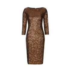 Sequin Bodycon Dress by Glamorous Tall (4.635 RUB) ❤ liked on Polyvore featuring dresses, bronze, bodycon dress, longsleeve dress, brown dress, long sleeve dress and body con dress