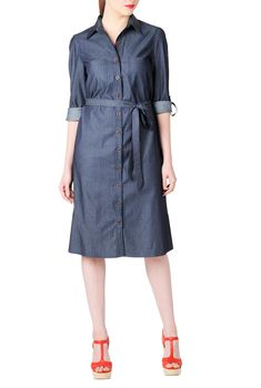 Denim chambray cotton shirtdress. Denim chambray covers our casually chic cotton shirtdress shaped with center back seaming and carefully placed darts at the bust , Front button closure , Long sleeves with ruched shoulders and rolled tabs , Front patch pocket - See more at: http://spenditonthis.com/listing-40258-denim-chambray-cotton-shirtdress.html#sthash.vTBd15Cb.dpuf
