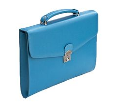 Ladies Small Briefcase | Ladies Turquoise Leather Business Bag from Laurige