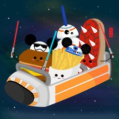 Star Wars themed food on Space Mountain ride. Inspired by my love for Disney and their delicious foods from different theme parks.