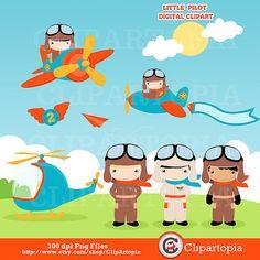 Little Pilot digital clipart / Aviator Clip art / by ClipArtopia, $5.00