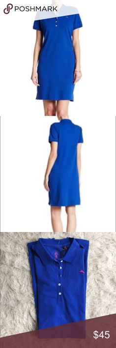 "NWT Tommy Bahama blue polo dress Details - Spread collar - Short sleeves - Partial front button closure - Chest embroidered logo graphic - Side vents - Approx. 36"" length - Imported Fiber Content 96% cotton, 4% spandex Care Machine wash cold Additional Info Fit: this style fits true to size.  Bust 17"" flat Tommy Bahama Dresses Midi"