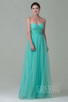 Luxurious Sheath-Column Sweetheart Natural Floor Length Tulle Sleeveless Zipper Bridesmaid Dress with Pleating COZF1500E#Cocomelody#bridesmaid dress#bridesmaid dress#party gowns#