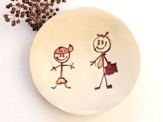 Happy Family Ceramic Round Dish Boy and Daddy Ring by Ceraminic, $15.00
