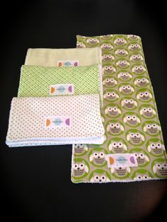 4 Pack Green and White Baby Burp Cloth Set  by PolkaDotSewDesigns. , via Etsy.