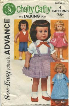 Vintage Doll Clothes Sewing Pattern | Chatty Cathy Wardrobe | Advance Group F | Year 1962 | One Size