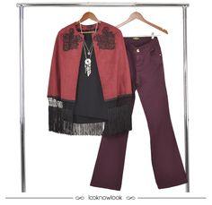 Capa bordada com franjas + Camiseta básica preta + Calça flare bordô/marsala #moda #look #outfit #ootd #marsala #inverno #novidades #tendência #iorane #gatabakana #shop #lojaonline #lnl #looknowlook