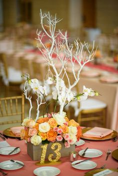 Coral wedding with beautiful glitter table numbers! | Table Numbers by ZCreateDesign www.ZCreateDesign.com
