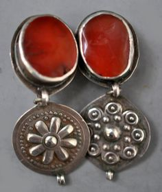 large carnelian and silver turkoman components as earrings design by Linda Pastorino
