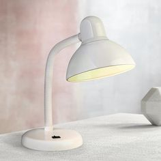 Gooseneck White Finish Task Desk Lamp