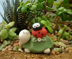 Turtle and Ladybug Pair  Figurine by countrycupboardclay on Etsy