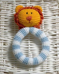 Crochet Rattle - Lion the Sailor toddler toy - Baby Teething toy -Crochet, safe, friendly baby toy - Baby gift
