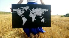 String art world map on boards. Ebony wood stain. 150$