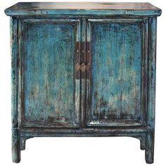 Two-door blue lacquer chest with rounded edges and straight skirt canbe used as a bar in a contemporary interior. New interior shelf and hardware. China, circa 1900s.