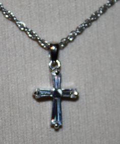 Vintage Necklace Lia Sophia Rhinestone Cross by ilovevintagestuff