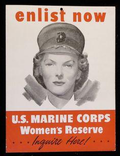 1940's World War II Era US Marine Corps Women's Reserve Enlistment Window Sign. $74.99, via Etsy.
