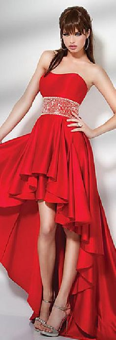 Elegant Satin A-Line Strapless Red Short Prom Dresses In Stock yiyadresses32541dewae #longdress #promdress