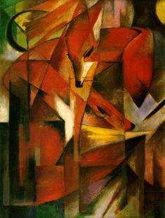 Foxes 1913 (140 Kb); Oil on canvas 87 x 65 cm; Kunstmuseum, Dusseldorf http://www.ibiblio.org/wm/paint/auth/marc/