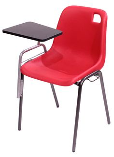 CHAISE VANOISE DIAMETRE 22 COQUE POLYPROPYLENE ROUGE AVEC TABLETTE
