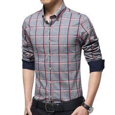 2015 nouveaux hommes Slim Fit à manches longues chemises à carreaux  chemises homme chemises en coton cfef191c7f6