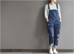 Christmas specials Loose feet denim overalls casual by complus