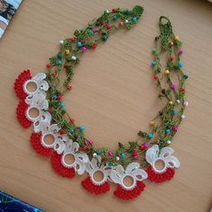 Etgdizayn~Elif Güngör/Tekirdağ (@etgdizayn) | Instagram photos and videos Crochet Necklace, Beaded Necklace, Knitted Slippers, Macrame Jewelry, Baby Knitting Patterns, Diy And Crafts, Jewelery, Like4like, Jewelry Making