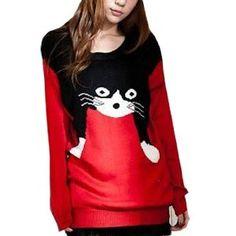 Women Fashion Cat Loose Sweater  ♥  BuyDogSweaters.com  #crazycatlady