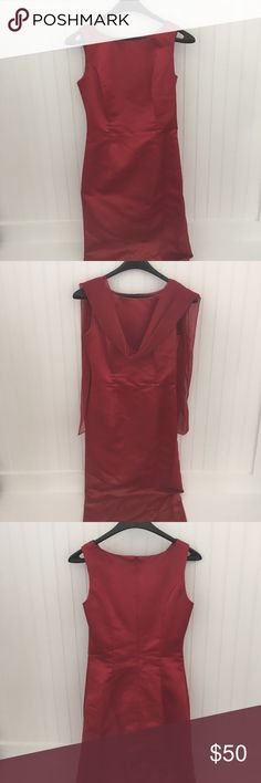 "Michael Angrelo Sheath Dress Candy Apple Red sheath dress with Shawl. Wore only once. (Purchased in 2002). Size 4 altered. 100% Polyester. Length: 55"", Bust: 15"", Split: 19 1/2"".                                                   Offers are welcomed. I negotiate. Ask any questions before purchasing. Michael Angelo Dresses"