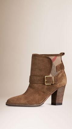 House Check and Suede Ankle Boots Bronze | Burberry
