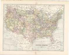 United States Map Antique Map Of United States US Map US - 1896 map of us