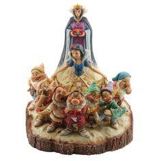 Enesco Disney Tradition - Figurilla de Blancanieve con los 7 enanitos y la Bruja, de resina, altura de 22 cm, multicolor