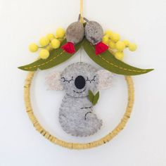 Items similar to Koala baby mobile featuring Australian eucalyptus blossoms, gunleaves and wattle blossoms. on Etsy Felt Diy, Felt Crafts, Crafts To Make, Baby Crafts, Handmade Christmas Gifts, Felt Christmas, Xmas, Christmas In Australia, Felt Owls